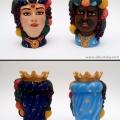 Alberto Lipari - Gli opposti, decoro su teste di moro - acrilico su ceramica - 2015