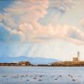Alberto Lipari - Paesaggio con faro e nubi - olio su tela - cm 50x80 - 2013