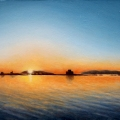 Alberto Lipari - Vista del tramonto - olio su pannello - cm 24x18 - 2020