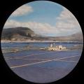 Alberto Lipari - Veduta delle saline -  olio su ceramica - 2013