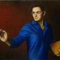Alberto Lipari - Autoritratto in blu - cm 50x70 - olio su tela - 2007
