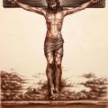 Alberto-Lipari - Cristo crocefisso - sanguigna seppia grafite e gesso su carta ocra - cm 35x50 - 2019