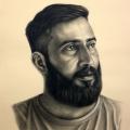 Alberto Lipari - Ritratto del fumettista Emanuele Virzì - grafite e gesso su carta ocra - cm 35x50 - 2019