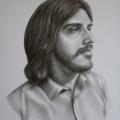 Alberto Lipari - Ritratto dell'informatico Salvatore Messina - grafite e gesso su carta grigia - cm 35x50 - 2021