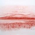 Alberto Lipari - Veduta del lago - sanguigna su carta - cm 33x48 - 2014