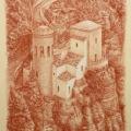 Alberto Lipari - Veduta di Torretta Pepoli a Erice - sanguigna e gesso su carta ocra - cm 35x50 - 2020