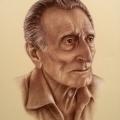 Alberto Lipari - Ritratto del mastro d'ascia Alessandro Mancuso - seppia e gesso su carta ocra - cm 33x48 - 2017