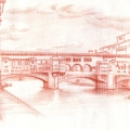 Alberto Lipari - Firenze, veduta Ponte Vecchio - sanguigna su carta - 2015
