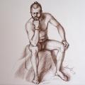 Alberto Lipari - Il modello (pensatore) - matita seppia su carta - cm 33x48 - 2013