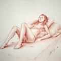 Alberto Lipari - La modella - sanguigna su carta - cm 33x48 - 2013