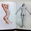 Alberto Lipari - schizzi nudo ninfe - sanguigna e grafite su carta - 2014
