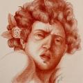 Alberto Lipari - Studio da Caravaggio Ragazzo morso - sanguigna su carta - 2008